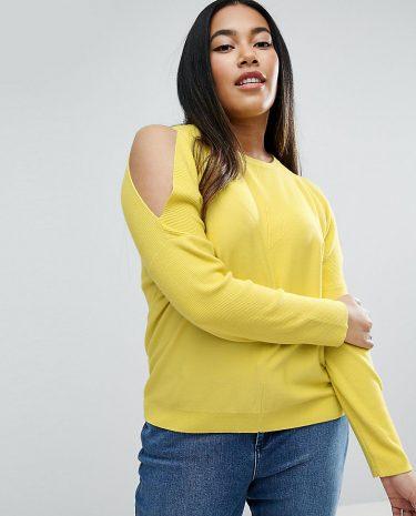 Fashion Shop - ASOS CURVE Contrast Rib Cold Shoulder Jumper - Yellow