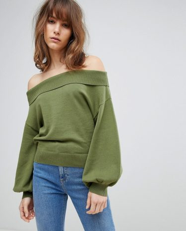 Fashion Shop - ASOS Jumper With Off Shoulder And Full Sleeve - Green