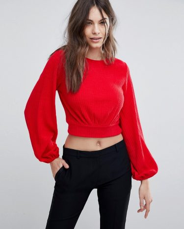 Fashion Shop - Fashion Union Balloon Sleeve Cropped Knitted Jumper - Red