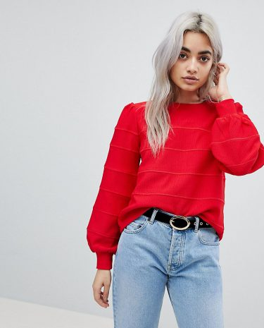 Fashion Shop - Fashion Union Petite Balloon Sleeve Knitted Jumper - Red