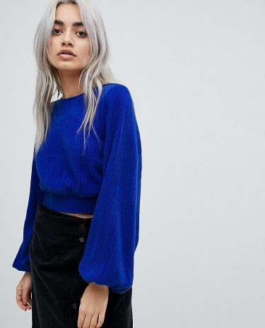 Fashion Shop - Fashion Union Petite Bishop Sleeve Cropped Knitted Jumper - Blue