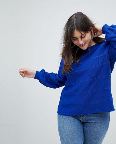 Fashion Shop - Fashion Union Plus Balloon Sleeve Knitted Jumper - Blue