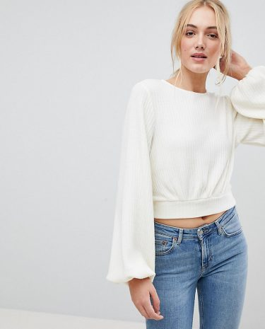 Fashion Shop - Fashion Union Tall Bishop Sleeve Cropped Knitted Jumper - White