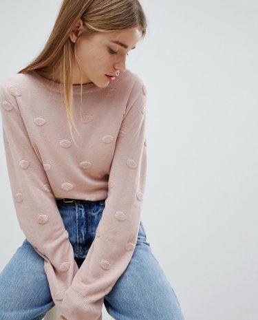 Fashion Shop - JDY Spot Detail Jumper - Pink