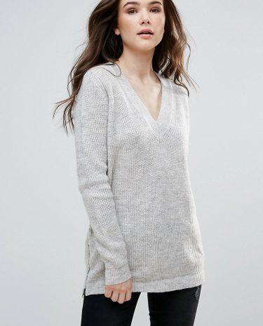 Fashion Shop - Vero Moda Jumper With V Neck - Grey