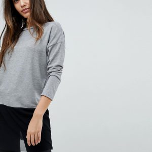 Fashion Shop - Wal G Knit Top with Mesh Trim - Grey