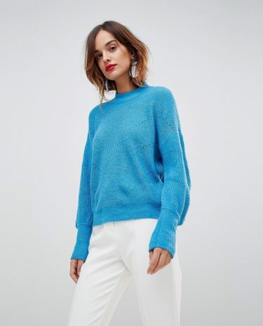 Fashion Shop - Y.A.S Knitted Jumper With Balloon Sleeve - Blue