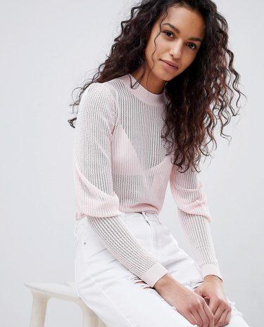 Fashion Shop - Y.A.S Puff Sleeve Lightweight Knit - Pink