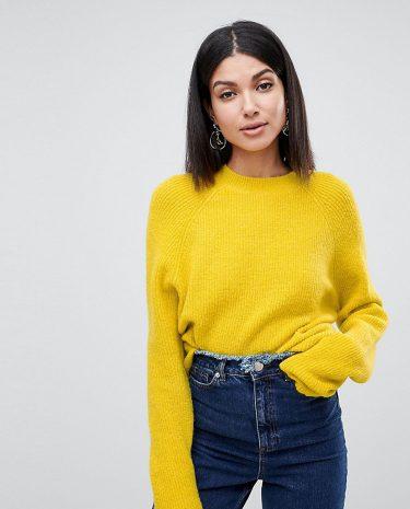 Fashion Shop - ASOS DESIGN Tall fluffy jumper in rib - Yellow