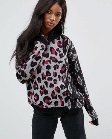 Fashion Shop - ASOS Jumper in Mix Animal Print - Multi