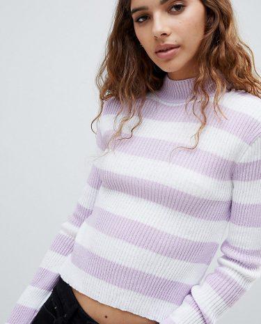 Fashion Shop - E.L.K Lightweight Knit Fitted Jumper In Stripe - Multi