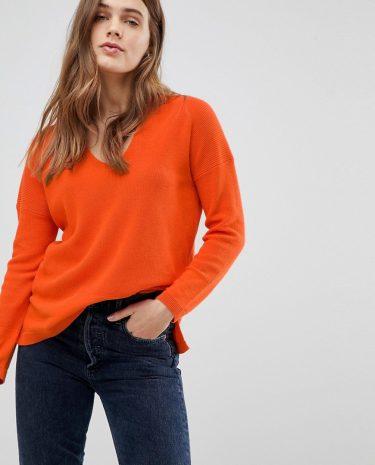 Fashion Shop - Esprit Ribbed V Neck Jumper - Orange