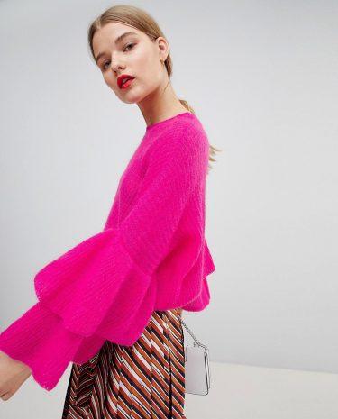 Fashion Shop - Essentiel Antwerp Fluffy Frill Jumper - Pink