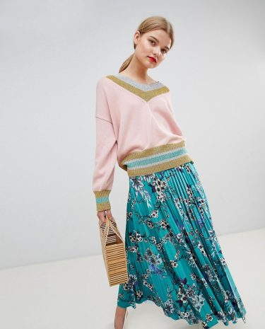 Fashion Shop - Essentiel Antwerp Sporty Jumper with Metallic Trim - Pink