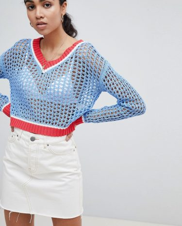 Fashion Shop - Glamorous Cricket Jumper With Contrast Trims In Loose Knit - Blue