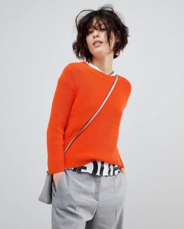 Fashion Shop - HUGO Signature Ribbed Jumper - Orange