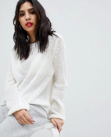 Fashion Shop - Micha Lounge Open Knit Oversized Jumper - Cream