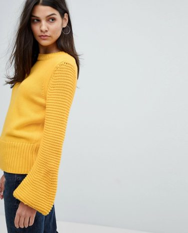 Fashion Shop - Mih Jeans Balloon Sleeve Knitted Jumper - Yellow