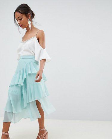 Fashion Shop - ASOS DESIGN Petite floaty midi skirt - Green