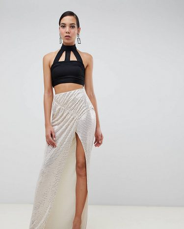 Fashion Shop - ASOS DESIGN Tall ruched sequin jersey maxi skirt - Gold