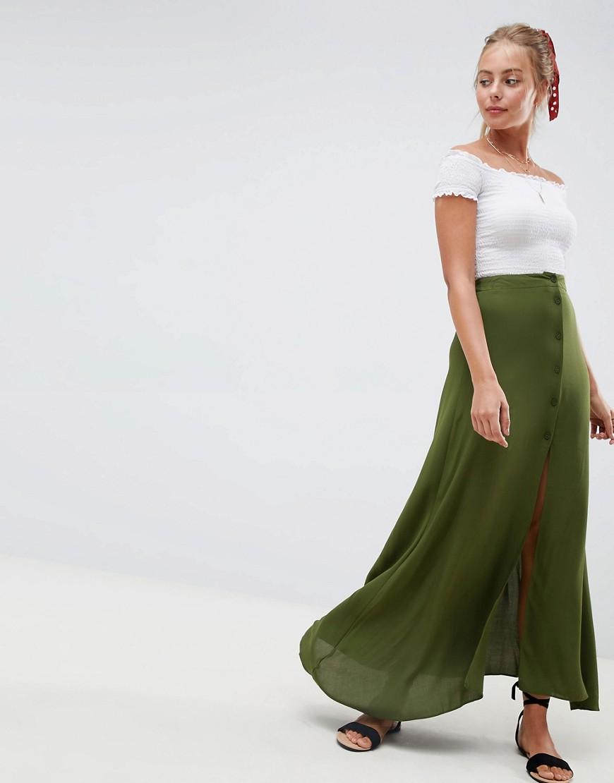 Fashion Shop - ASOS DESIGN button front maxi skirt - Green