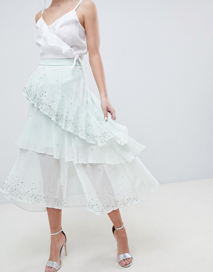 Fashion Shop - ASOS DESIGN embellishment asymmetric ruffle high low midi skirt - Green