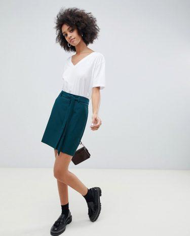 Fashion Shop - ASOS DESIGN tailored mini skirt with obi tie - Green