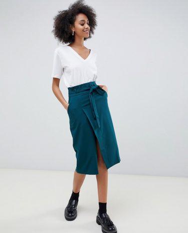 Fashion Shop - ASOS DESIGN tailored pencil skirt with obi tie - Green