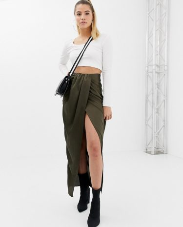 Fashion Shop - ASOS DESIGN twist front maxi skirt in satin - Green