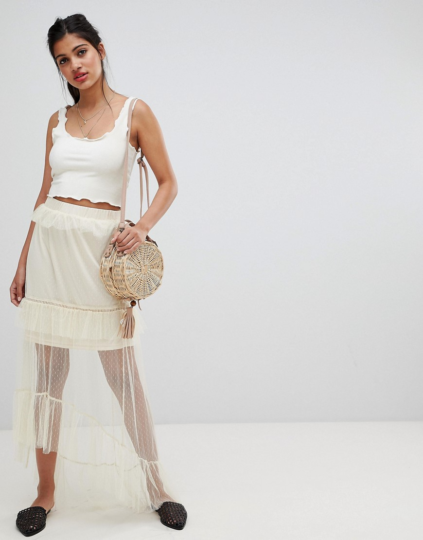 Fashion Shop - Glamorous tulle midi skirt - Cream