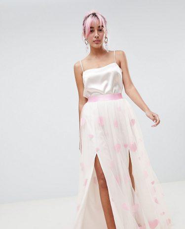 Fashion Shop - Hello Kitty x ASOS DESIGN heart flocked tulle maxi skirt