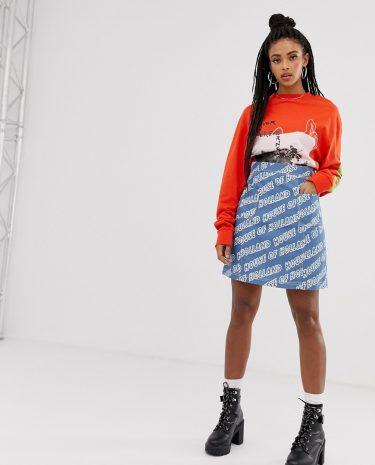 Fashion Shop - House Of Holland Logo Printed Denim Mini Skirt - Blue