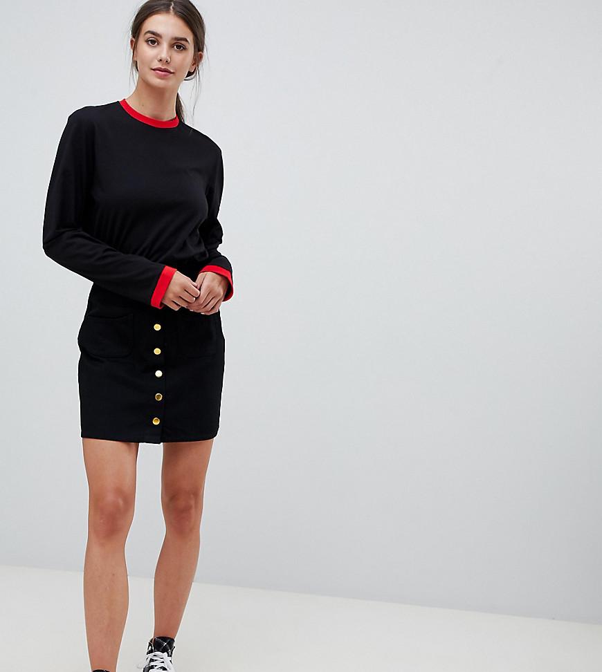 Fashion Shop - Kubban Tall Denim Button Through A-Line Skirt - Black