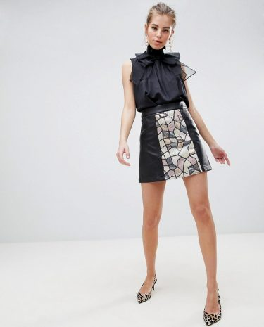 Fashion Shop - Traffic People Sequin Panelled Mini Skirt - Black
