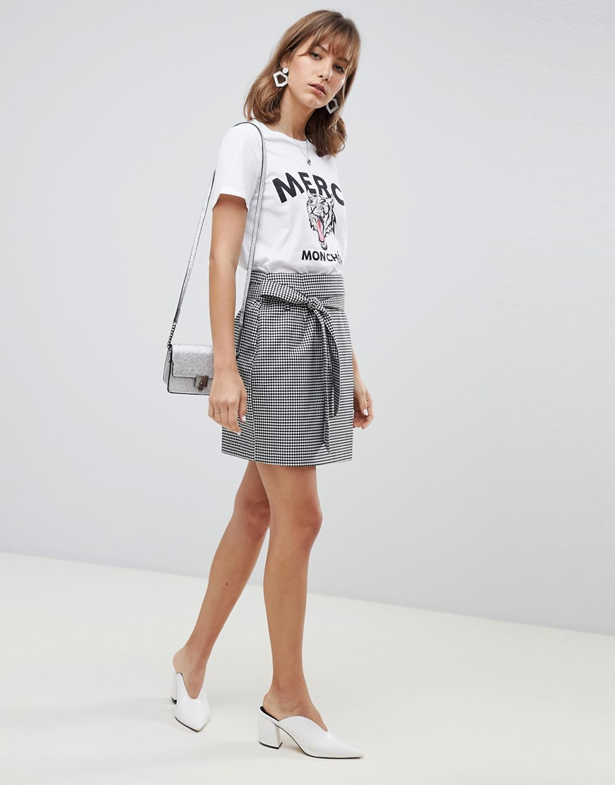 Fashion Shop - Vero Moda Check Wrap Front Belted Mini Skirt - Multi