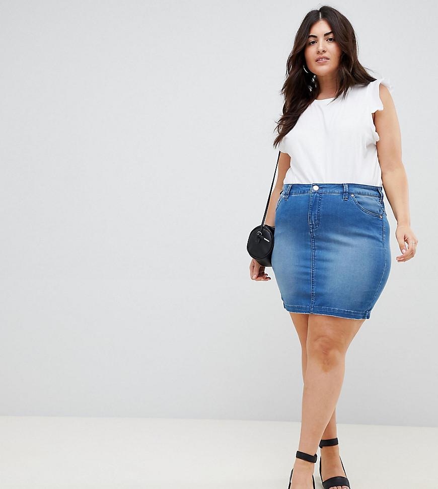 Fashion Shop - Zizzi exclusive to ASOS denim mini skirt - Blue