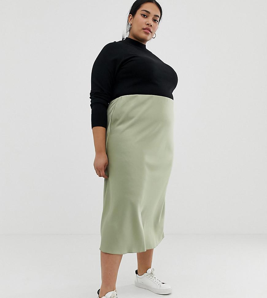 Fashion Shop - ASOS DESIGN Curve bias cut satin slip midi skirt - Green