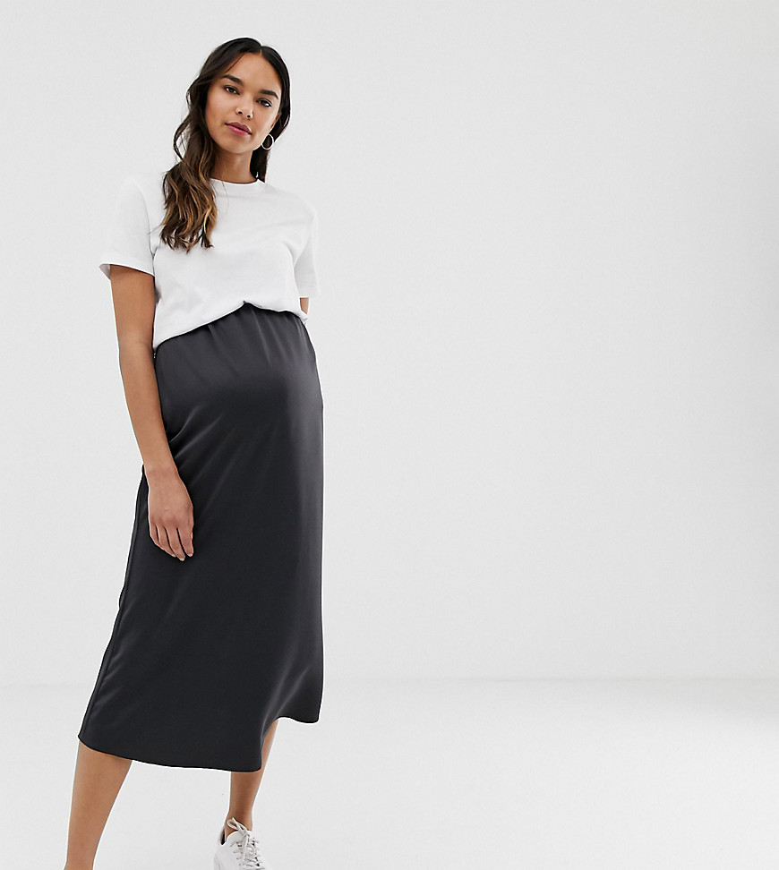 Fashion Shop - ASOS DESIGN Maternity bias cut satin slip midi skirt - Black