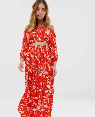 Fashion Shop - ASOS DESIGN Petite chiffon flamenco floral stripe print split maxi beach skirt co-ord - Multi