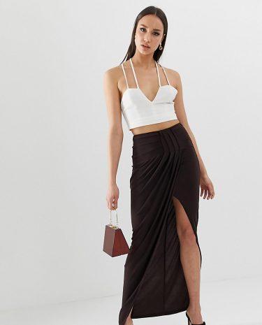 Fashion Shop - ASOS DESIGN Tall exclusive drape wrap slinky maxi skirt - Brown