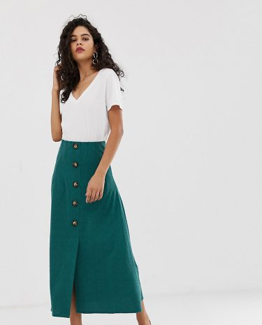 Fashion Shop - ASOS DESIGN Tall textured midi skirt with button front - Blue