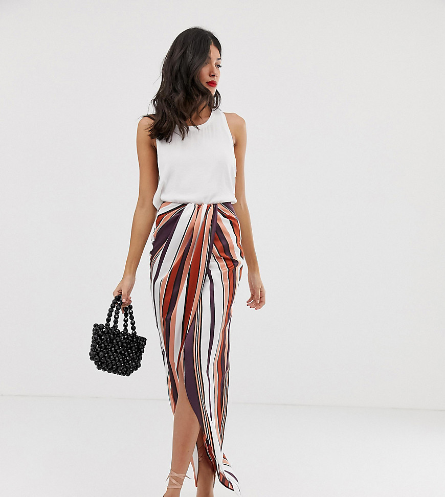 Fashion Shop - ASOS DESIGN Tall twist front maxi skirt in stripe - Multi