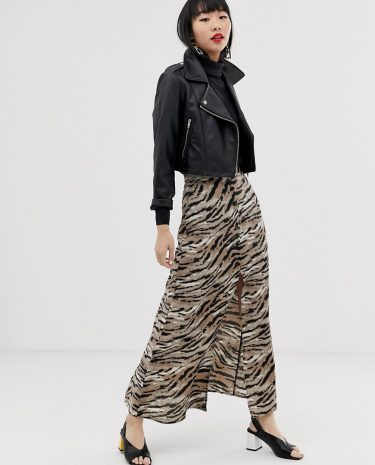 Fashion Shop - ASOS DESIGN button front maxi skirt in tiger print - Multi