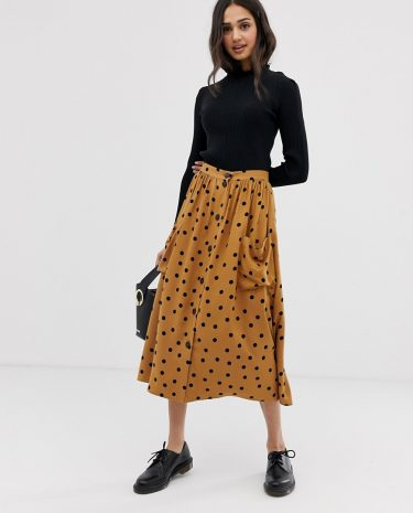 Fashion Shop - ASOS DESIGN button front midi skirt in polka dot with oversized pockets - Multi