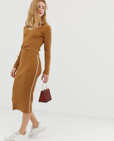 Fashion Shop - ASOS DESIGN co-ord knit skirt in rib with tipping - Stone
