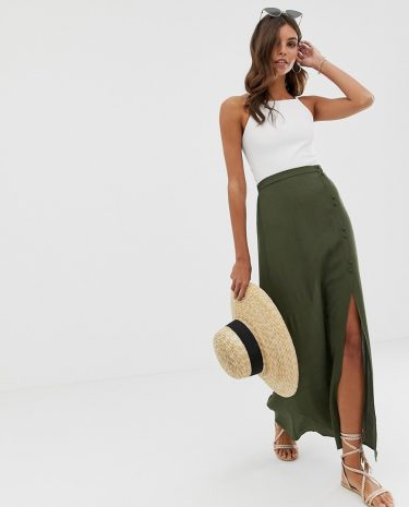 Fashion Shop - ASOS DESIGN crinkle maxi skirt with self covered buttons - Green