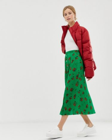 Fashion Shop - ASOS DESIGN floral plisse pleated midi skirt with poppers - Multi