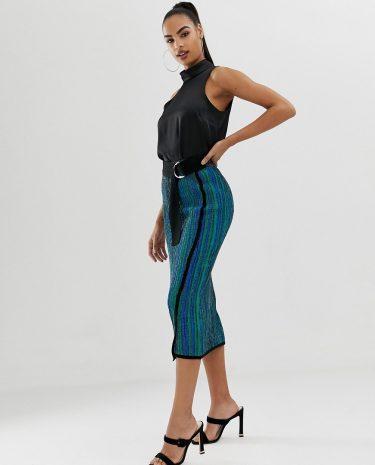 Fashion Shop - ASOS DESIGN knitted midi skirt in metallic multi stripe with d ring belt - Multi