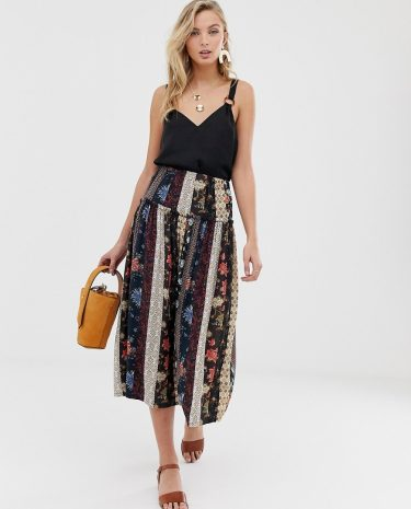 Fashion Shop - ASOS DESIGN mixed scarf print prairie midi skirt - Multi