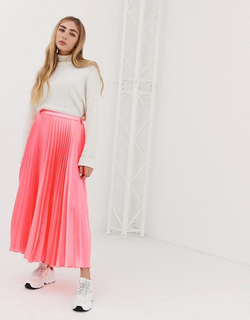 Fashion Shop - ASOS DESIGN pleated midi skirt in neon satin - Pink